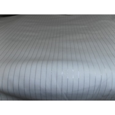 White cotton fabric with  silver lurex weave