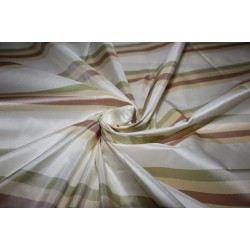 "100% Silk Taffeta Fabric cream ,dusty rose,light olive  Stripes  TAFS160[1] 54"" wide sold by the yard"