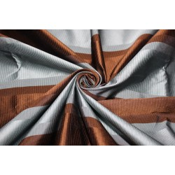 "100% Silk Taffeta Fabric blueish grey and brown ribbed stripe TAFS156 54"" wide sold by the yard"