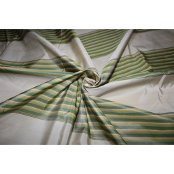 "100% Silk Taffeta Fabric shades of green,gold and cream  Stripes TAFS161[1] 54"" wide sold by the yard"