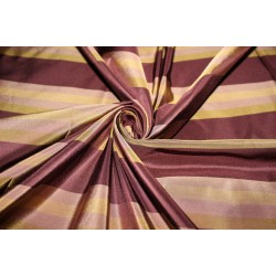 "SILK TAFFETA stripe PLUM AND GOLD fabric 54""TAFS163[1] by the yard"
