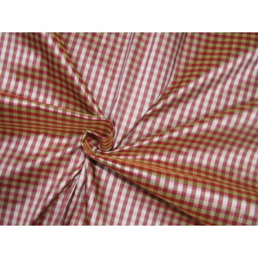 """100% SILK Dupioni FABRIC 54"""" wide pink beige and brown coloUr plaids DUPC109[2] sold by the yard"""