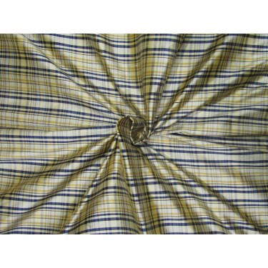 "100% SILK Dupioni FABRIC 54"" wide  navy and golden yellow  color plaids DUPC106[1]"