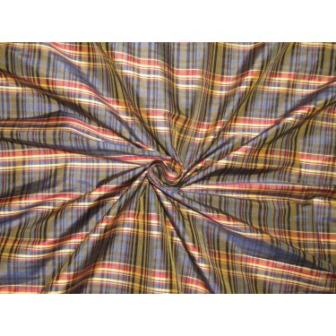 """100% SILK Dupioni FABRIC 54"""" wide  red navy and golden yellow color plaids DUPC107[1] sold by the yard"""