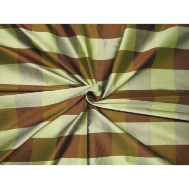"""100% SILK Dupioni FABRIC 54"""" wide  BROWN AND OLIVE GREEN  color plaids DUPC110[2]"""