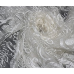 Silk Organza Embroidery Sold By The Yard 44''wide Bridal Wear Party Wear Costume
