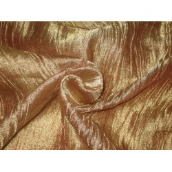 crushed sheer Gold x Brown silk metalic tissue fabric
