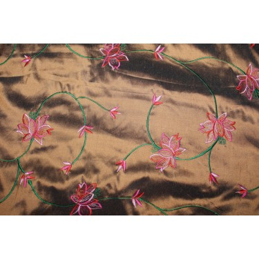 """100% SILK DUPION irredescent copper x green with pink, red  FLORAL EMBROIDERY 54""""DUPE59[2]"""