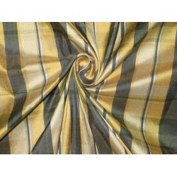 SILK Dupioni FABRIC Shades of Gold & Grey color plaids