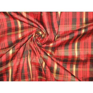 """SILK Dupioni FABRIC Red,Gold & Black colour plaids 54"""" wide sold by the yard"""