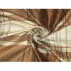 "SILK Dupioni FABRIC Creamy Gold,Light Grey & Brown 54"" wide sold by the yard"