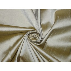 "100% Pure SILK Dupioni FABRIC Grey with Mustard Shot 44"" wide sold by the yard"
