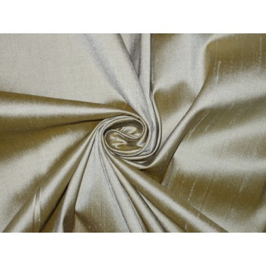 """100% Pure SILK Dupioni FABRIC Grey with Mustard Shot 44"""" wide sold by the yard"""