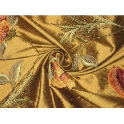Pure SILK DUPIONI Fabric Floral Embroidery