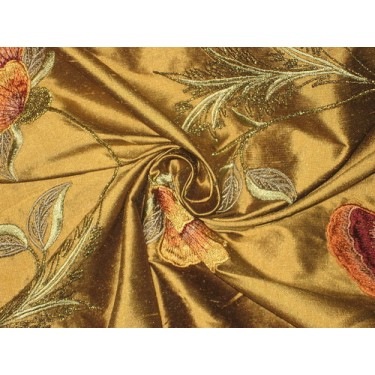 Pure SILK DUPIONI Fabric Floral Embroidery  by the yard