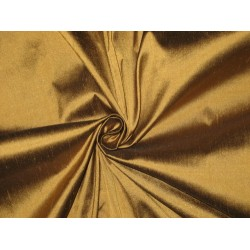 Pure SILK Dupioni FABRIC Smoky Gold color