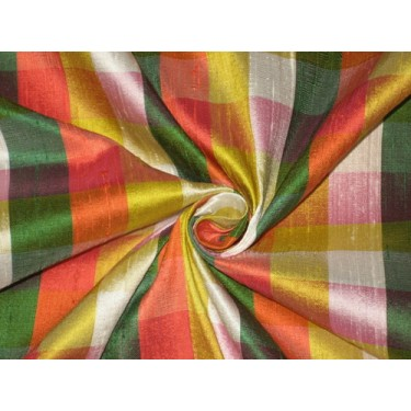 SILK Dupioni FABRIC Multi color plaids  sold by the yard