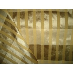 Pure SILK Dupioni FABRIC Plaids Shades of Gold,Brown & Cream with dobby stripes