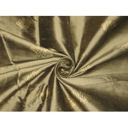 SILK Dupioni FABRIC Gold x Black shot color with Jacquard