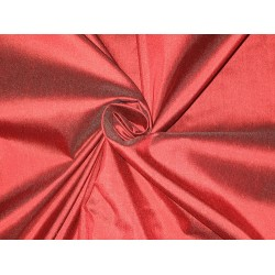 Pure SILK Dupioni FABRIC Blood Red with Black shot color 54""