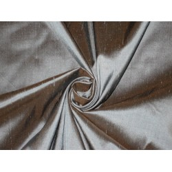 100% Pure SILK Dupioni FABRIC Silver Blue with Brown Shot