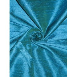 100% Pure SILK Dupioni FABRIC Iridescent Peacock Blue x Green 54""
