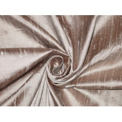 100% Pure SILK Dupioni FABRIC Brown x Ivory