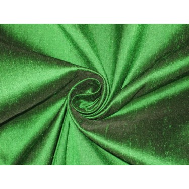 100% Pure SILK Dupioni FABRIC Parrot Green x Black Shot sold by the yard