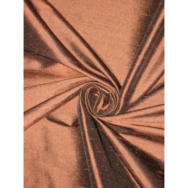 100% Pure SILK Dupioni FABRIC Brown with Black shot sold by the yard