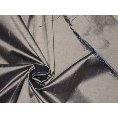 100% Pure SILK Dupioni FABRIC Silver with Navy Blue shot
