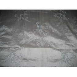Pure SILK DUPIONI Fabric Floral Embroidery on Silver