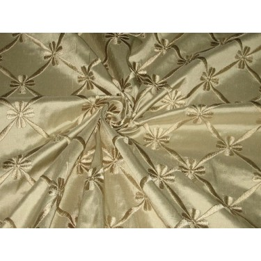 """SILK DUPIONI Fabric Dark Fawn color with Embroidery 54"""""""