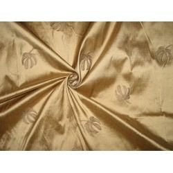 Pure SILK DUPIONI Fabric Light Golden Brown Embroidery
