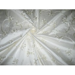 Pretty Ivory SILK DUPIONI Fabric with Embroidery