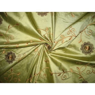 Olive Green SILK DUPIONI Fabric with Brown Embroidery