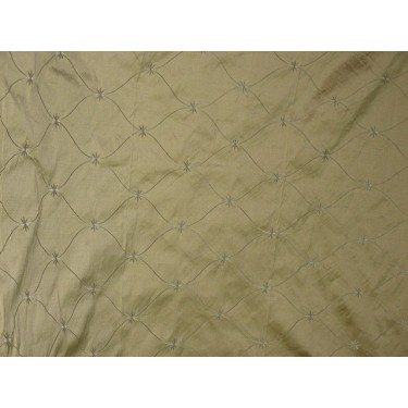 100% PURE SILK DUPIONI Fabric Gold with Embroidery DUP#E38 by the yard