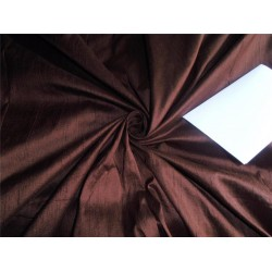 "100% PURE SILK DUPIONI FABRIC COFFEE BROWN 54"" / MM29[4]"