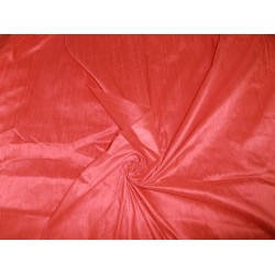 Indian SILK Dupioni FABRIC Pure Coral *with slubs