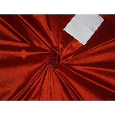 """100% PURE SILK DUPIONI FABRIC BRICK RED COLOR 54"""" WITHOUT SLUBS*"""