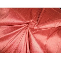 "100% PURE SILK DUPIONI FABRIC DUSTY RED 54"" WITH SLUBS*"