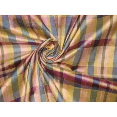 """SILK Dupioni FABRIC Gold,Pink & Blue color plaids  54"""" wide sold by the yard"""