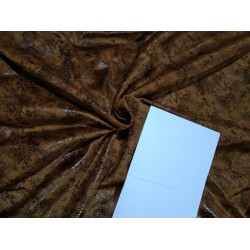 "100% Polyester scuba Suede Fabric 59"" wide-BROWN BRONZE  FOIL PRINT"