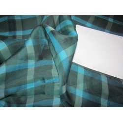 "100% silk organza plaid   fabric 44"" shades of blues and greens by the yard"