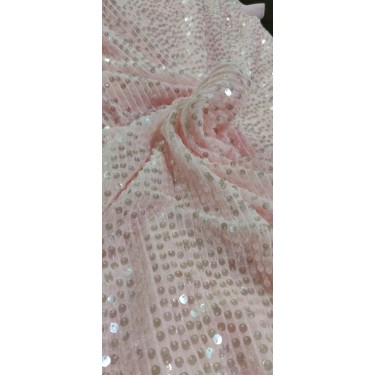 Beautiful  Heavy Sequins Fabric By Yard 58'' Wide cute light pink pink FF36[2]