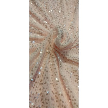 Beautiful  Heavy Sequins Fabric By Yard 58'' Wide peachy pink FF2[4]