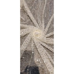 Beautiful  Heavy Sequins Fabric By Yard 58'' Wide IVORY WHITE  FF36[1]