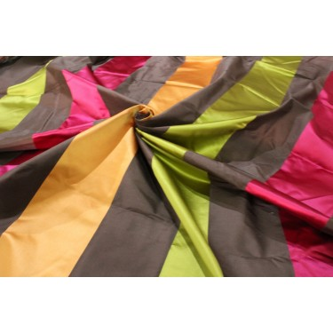 """100% Silk Taffeta  Fabric olive/brown/pink and sandalwood  color satin stripes54"""" TAFS159[1] by the yard"""