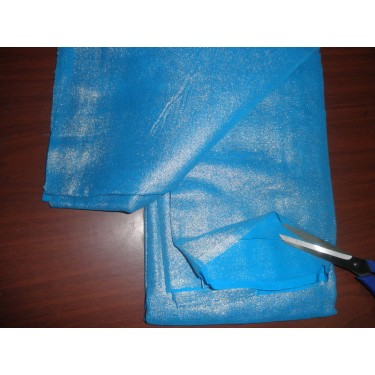 """turquoise blue Silk georgette fabric gold glitter look 44""""**"""