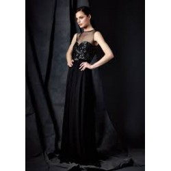 "40 mm  heavy  Silk Georgette 44"" wide~ black colour"