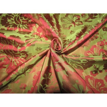 Silk taffeta jacquard fabric red x green iridescent REVERSABLE  DAMASK TAFJ28d